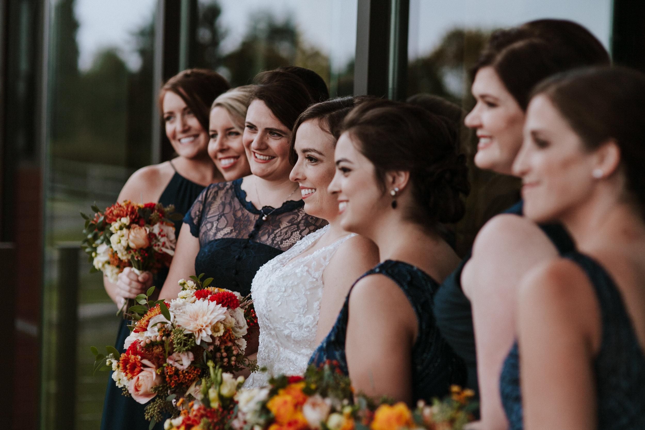 bridesmaids and bride, rosehill community