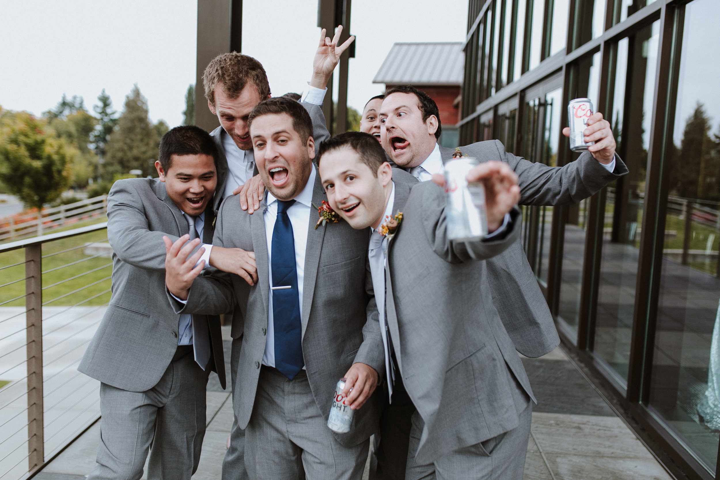 groomsmen attack groom