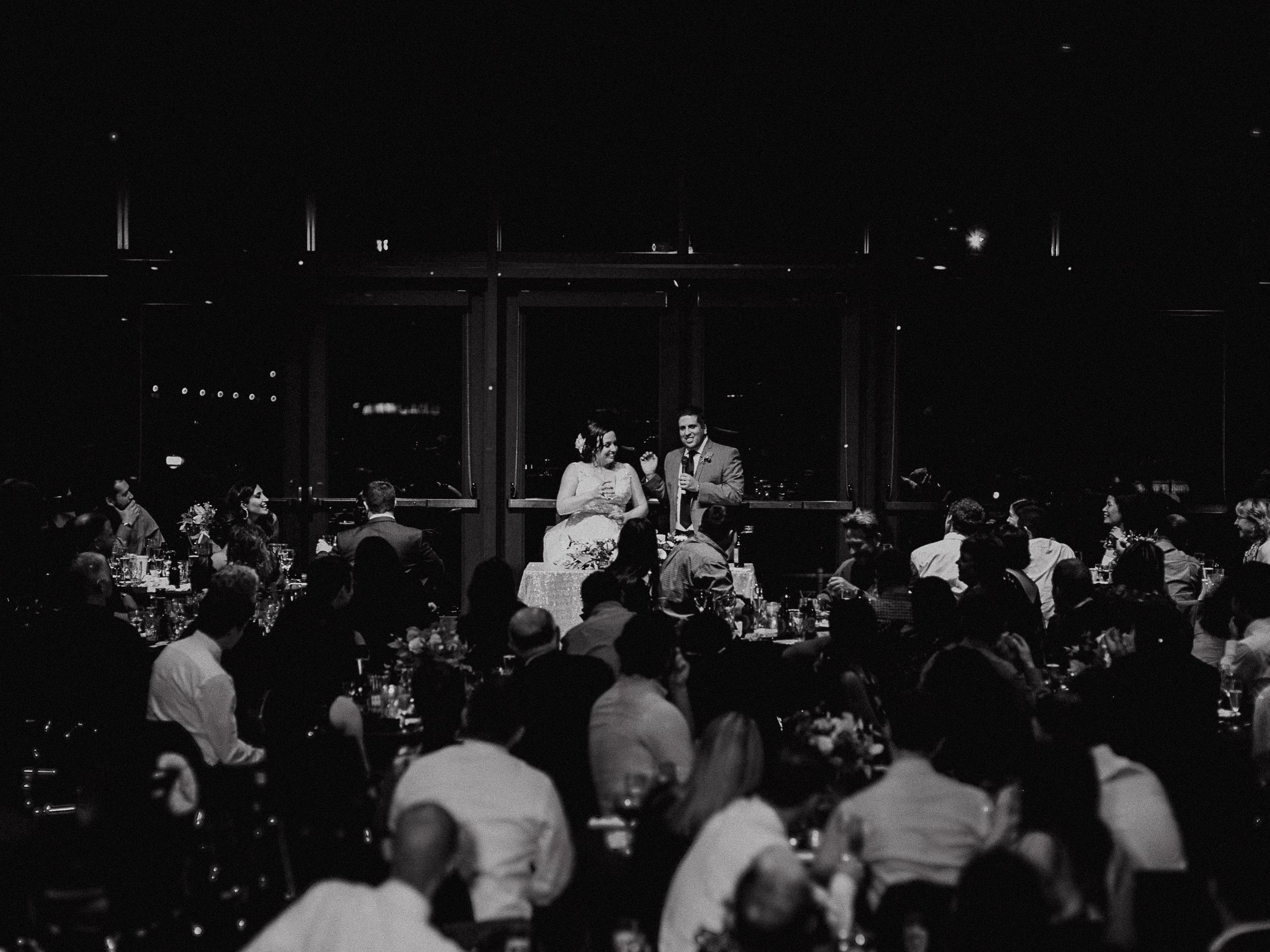 Bride and Groom address entire wedding rosehill community center