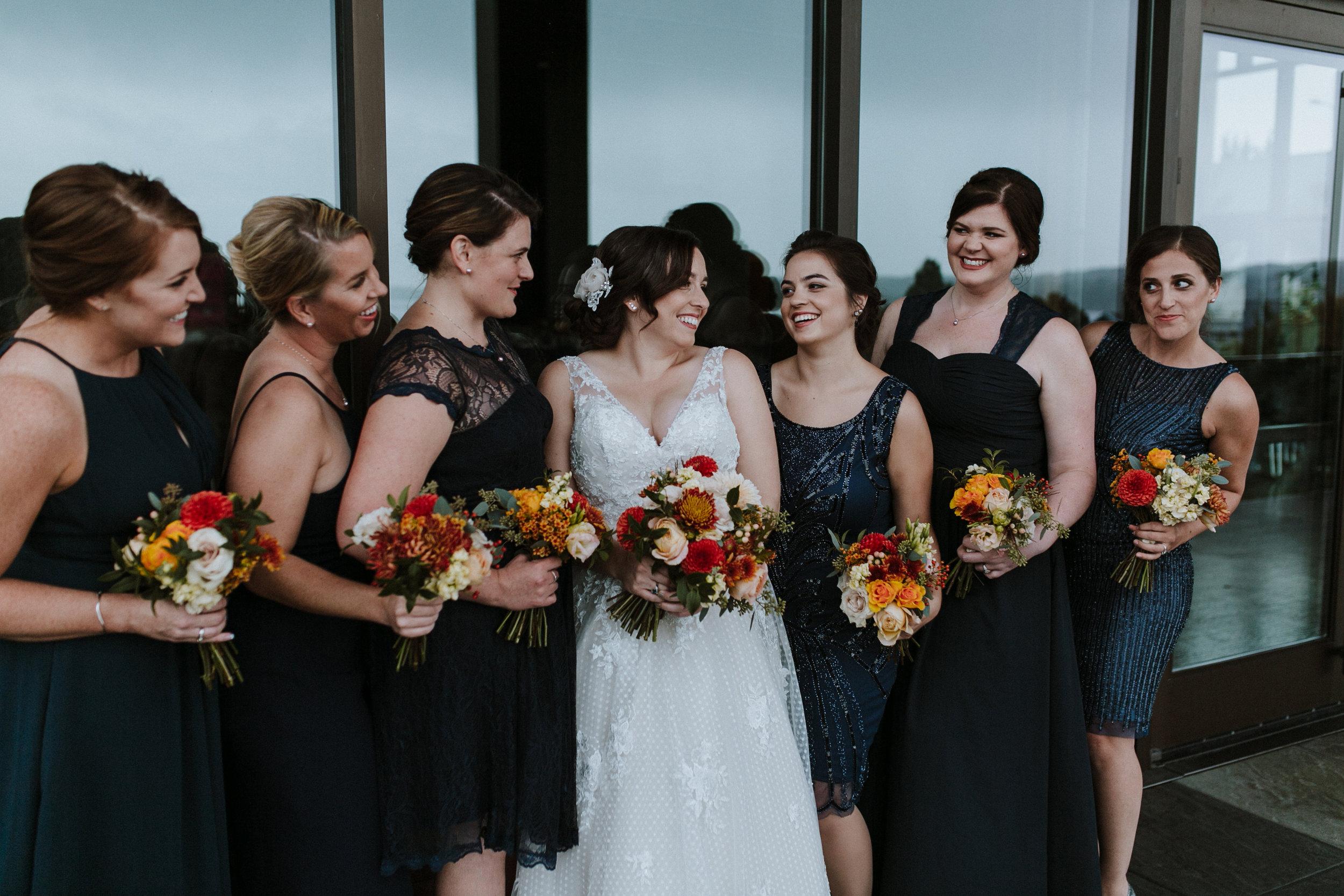 bridesmaids navy dresses lace sequins