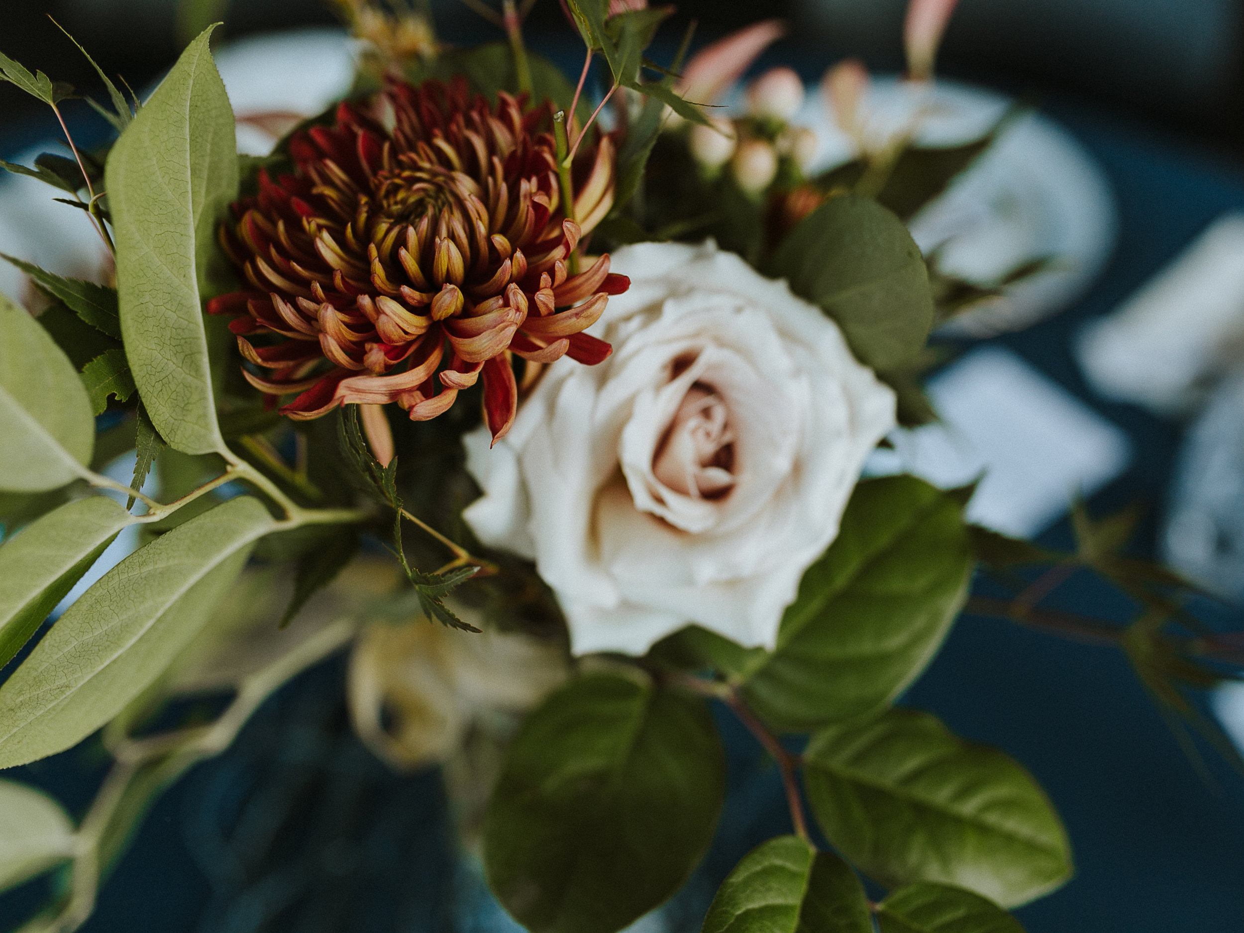 Wedding Table flower arrangement, dusty roses