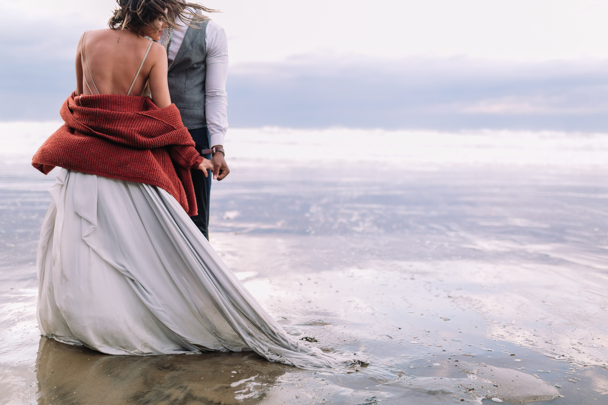 Erin Aasland Elopement Photographer Beach Dancing in the Waves