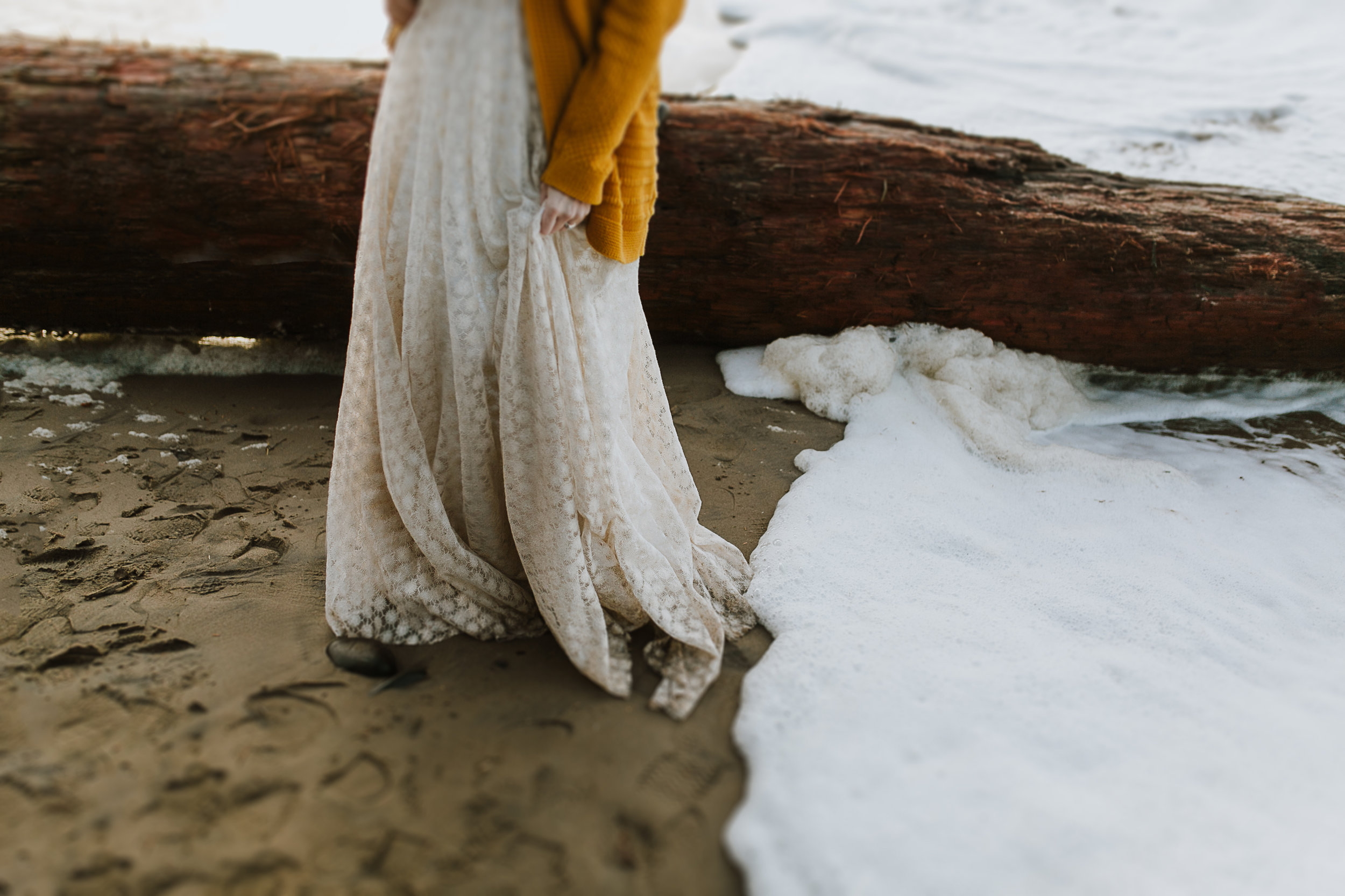 Erin Aasland Elopement Coast Dirty Dress Surf Sand