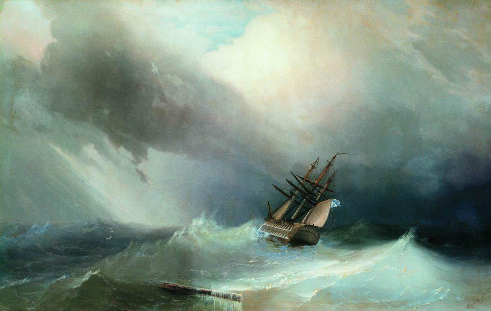 Ship on a Stormy Sea , Ivan Aivazovsky