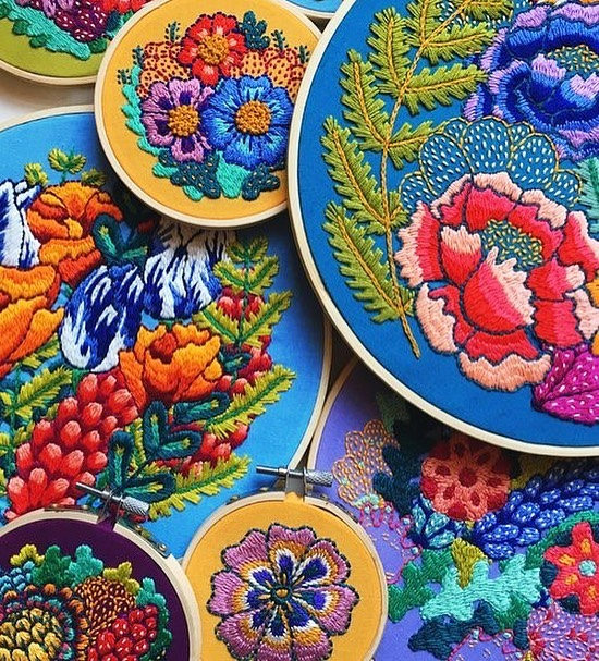 You probably know the work of prolific embroidery artist @kellryan - based just outside Albany, we're so excited to have her back with her insanely detailed and colorful embroidery pieces!
