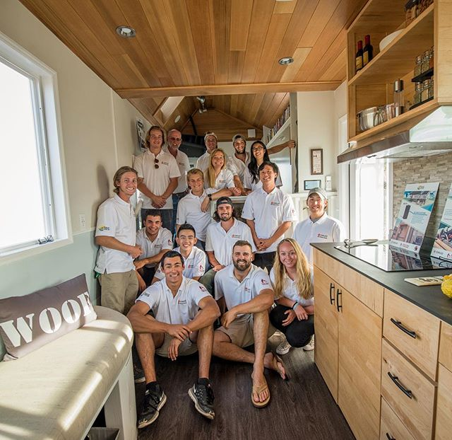 The whole competition team together in the rEvolve house (Photo by Joanne Lee). Today is the last day of the competition! Join us for awards and public exposition tomorrow 🎉 #SCUTinyHouse #smud #tinyhouses16 #team