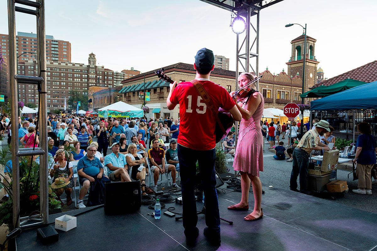 Live Music - The 2019 schedule is below. Dance the night (and day) away as you hear Kansas City's favorite local musicians playing at the three awesome live music stages found throughout the Plaza Art Fair.