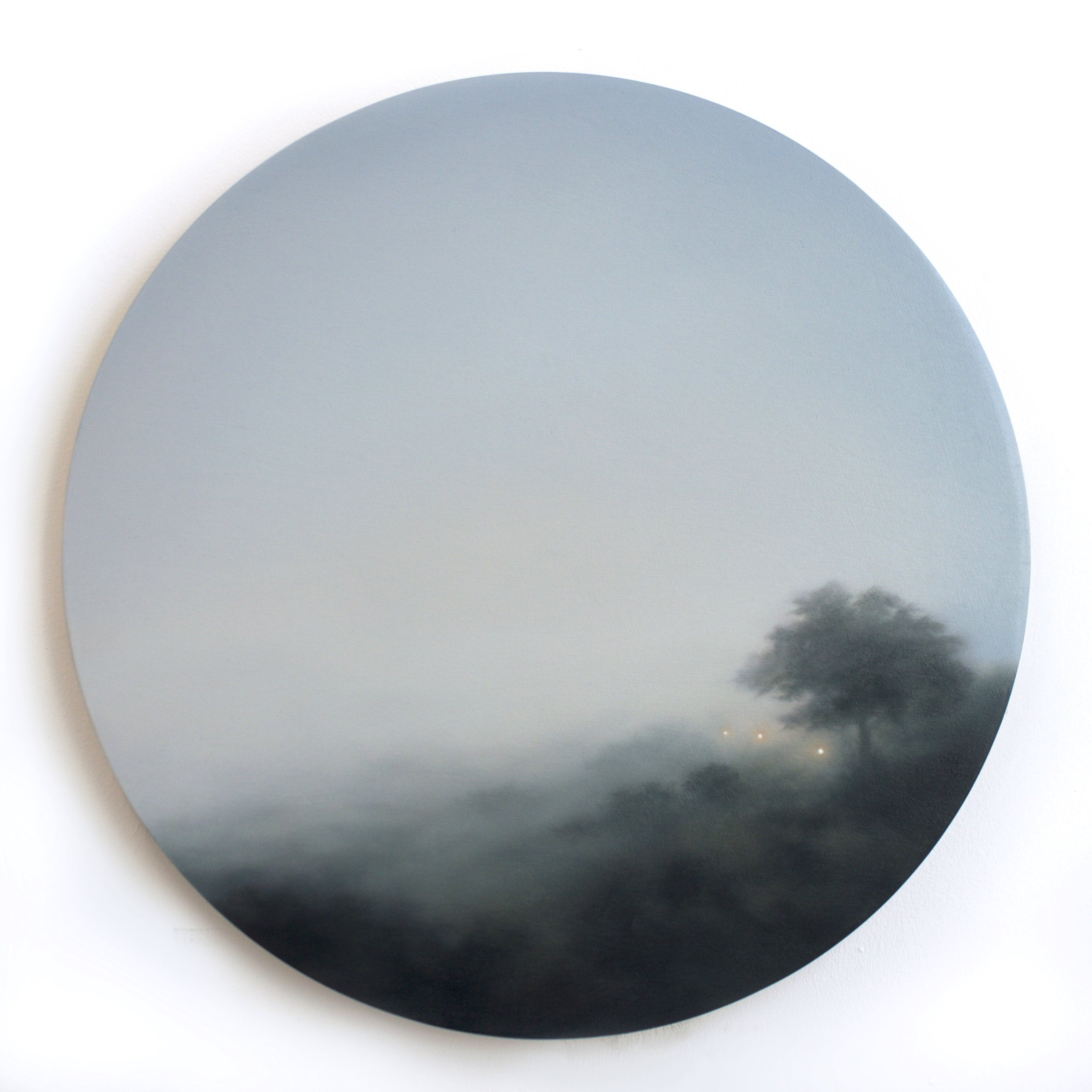 Figment XXX, oil on birch ply, 40cm diameter, 2019