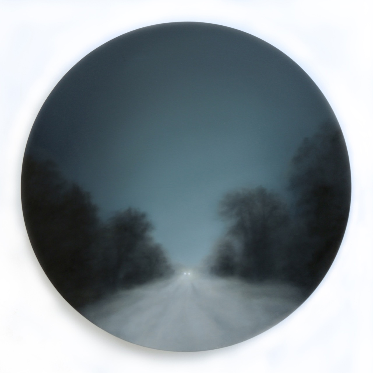 Figment XXVII, oil on birch ply, 30cm diameter, 2019