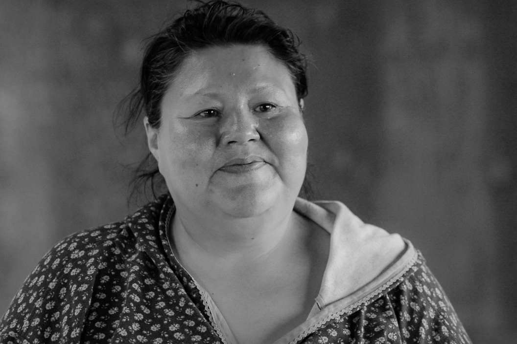 "Priscilla Evans, Second Chief, Nanwalek, Alaska:    ""I have 11 kids and I have 19 grandkids right now. I just hope they take care of what's given to us. A lot of them know that. I hope they have the strength to speak out, like me. I don't want them to be afraid to be honest about their way of life and don't be ashamed."""