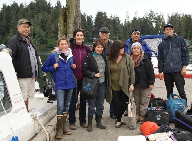 From left to right: Tony Hanson (KCFN Fisheries Manager), Anne Salomon (SFU Professor), Jenn Burt (SFU researcher), Evelyn Pinkerton (SFU Professor), Git Kinjuaas Ron Wilson (Haida Laana AwGa, Hereditary Chief), Laurie Wood (team organizer), Wii-tsts-koom Anne Mack (Toquaht Ha with, Hereditary Chief), Skill-Hillans Allan Davidson (Haida Laana AwGa, Hereditary Chief), Ilja Herb (our film maker)