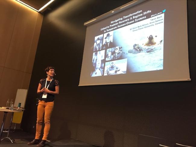 Jenn presents at stockholm conference.JPG