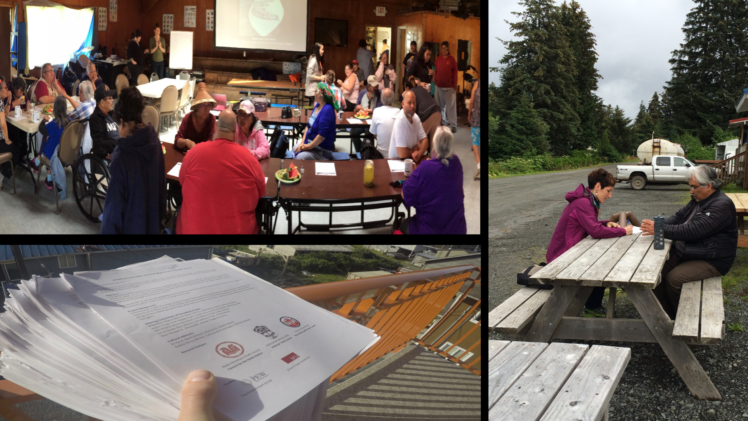 Top right: Community workshop in Nanwalek, Alaska. Bottom: The completed pile of survey-interviews from people in Kyuquot. Right: Jenn interviewing Pat Norman, Chief of Port Graham, Alaska.