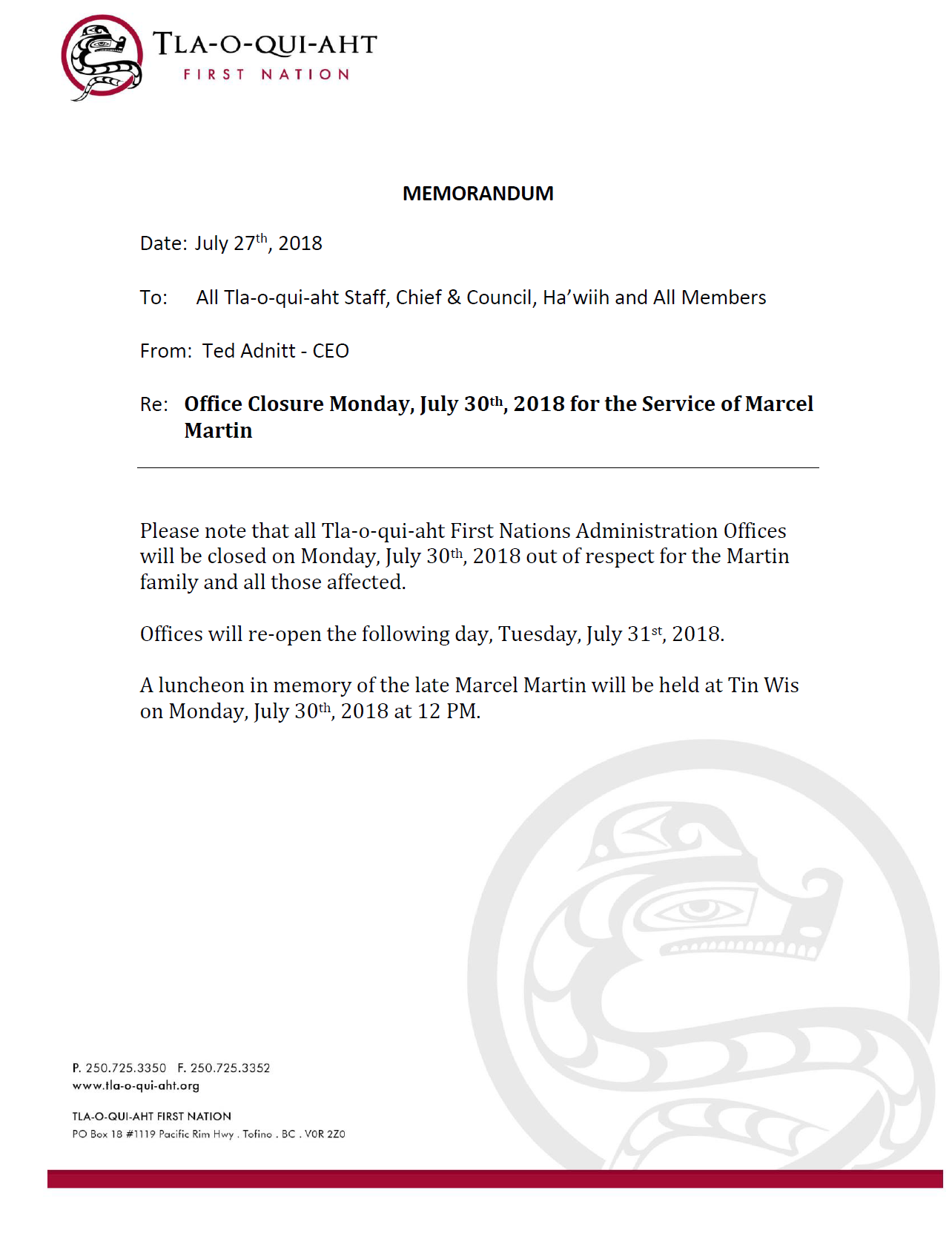Memo re Office Closure July 30 and Luncheon for Marcel Martin.png