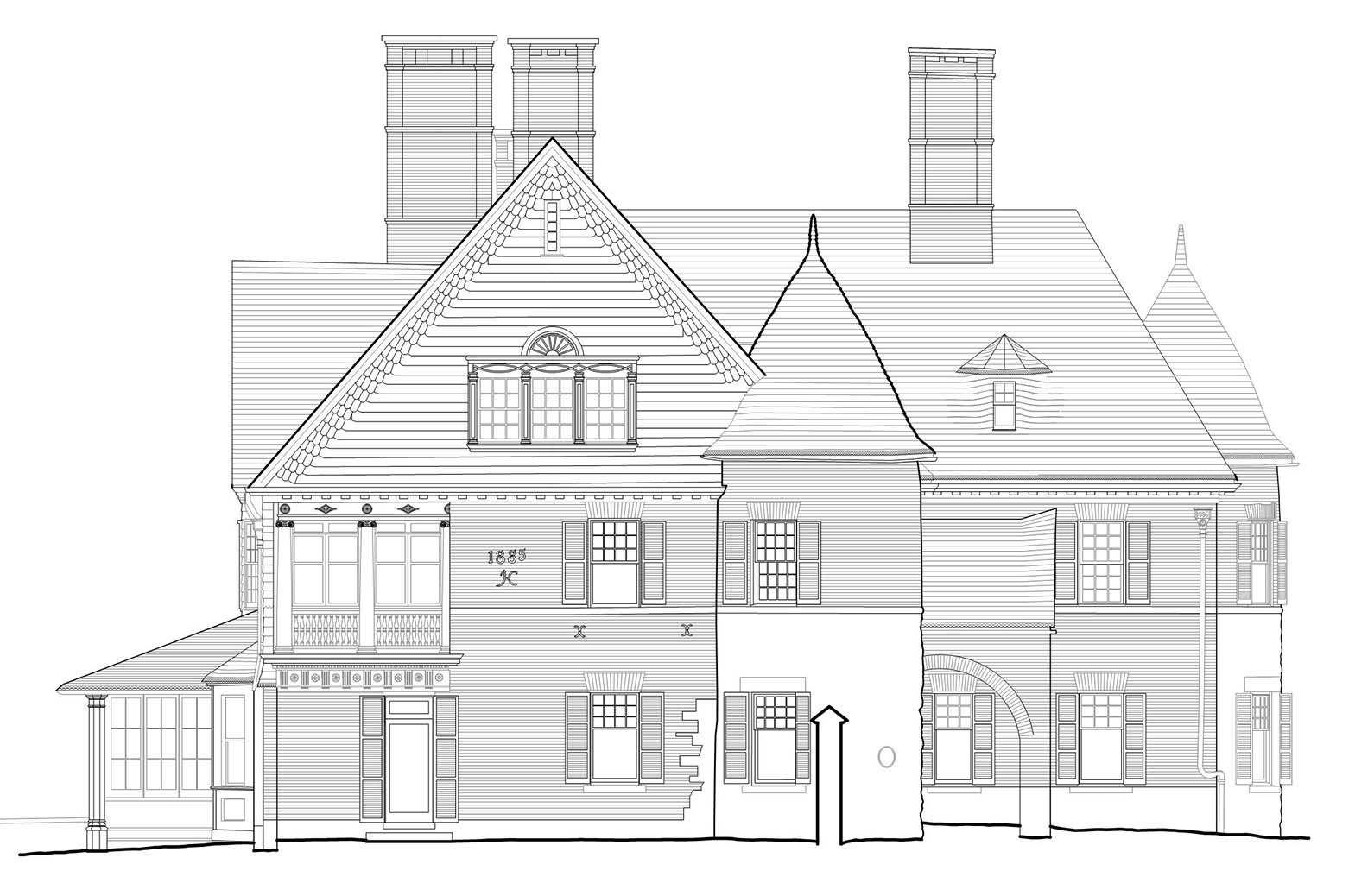 Final line drawing elevation