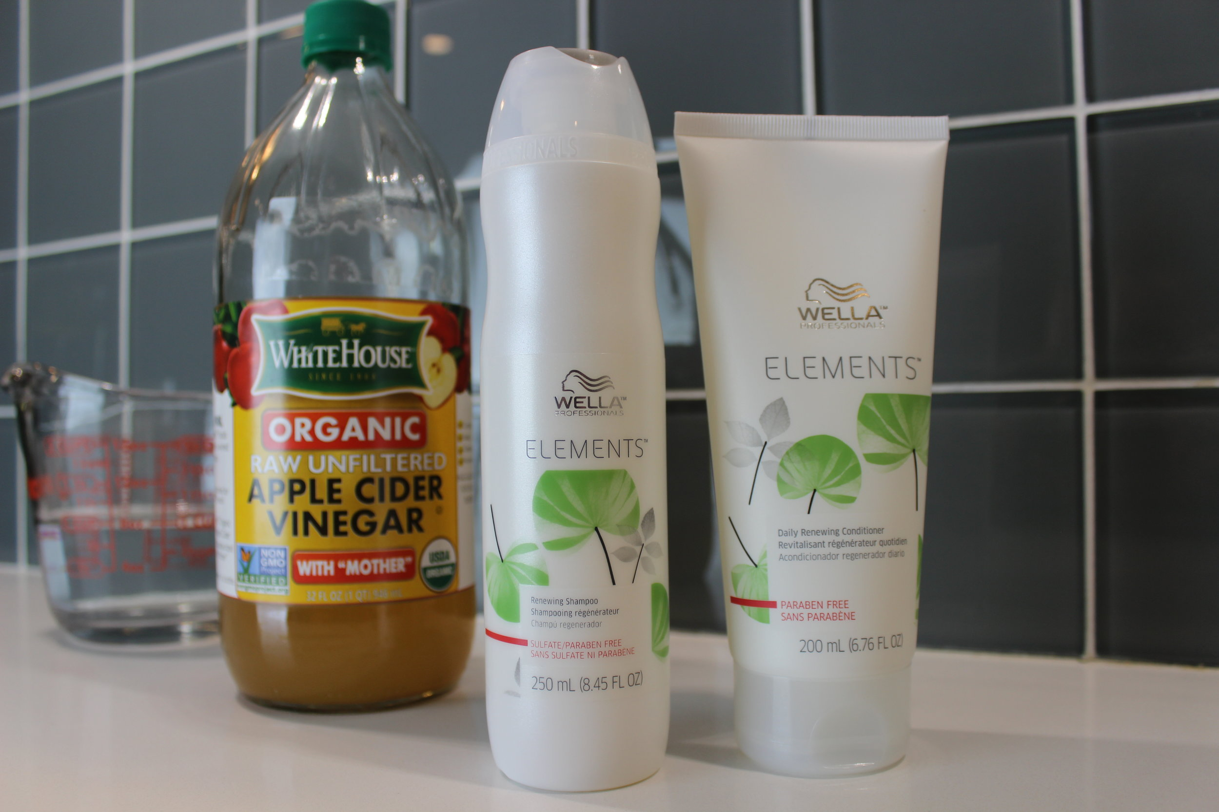 The Apple Cider Vinegar Rinse pairs perfectly with Wella Elements Shampoo and Conditioner