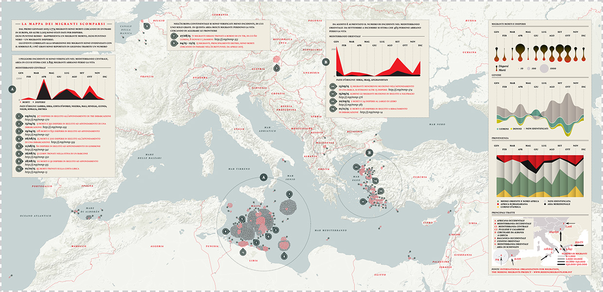 The Missing Migrants Map by Valerio Pellegrini and Michele Mauri