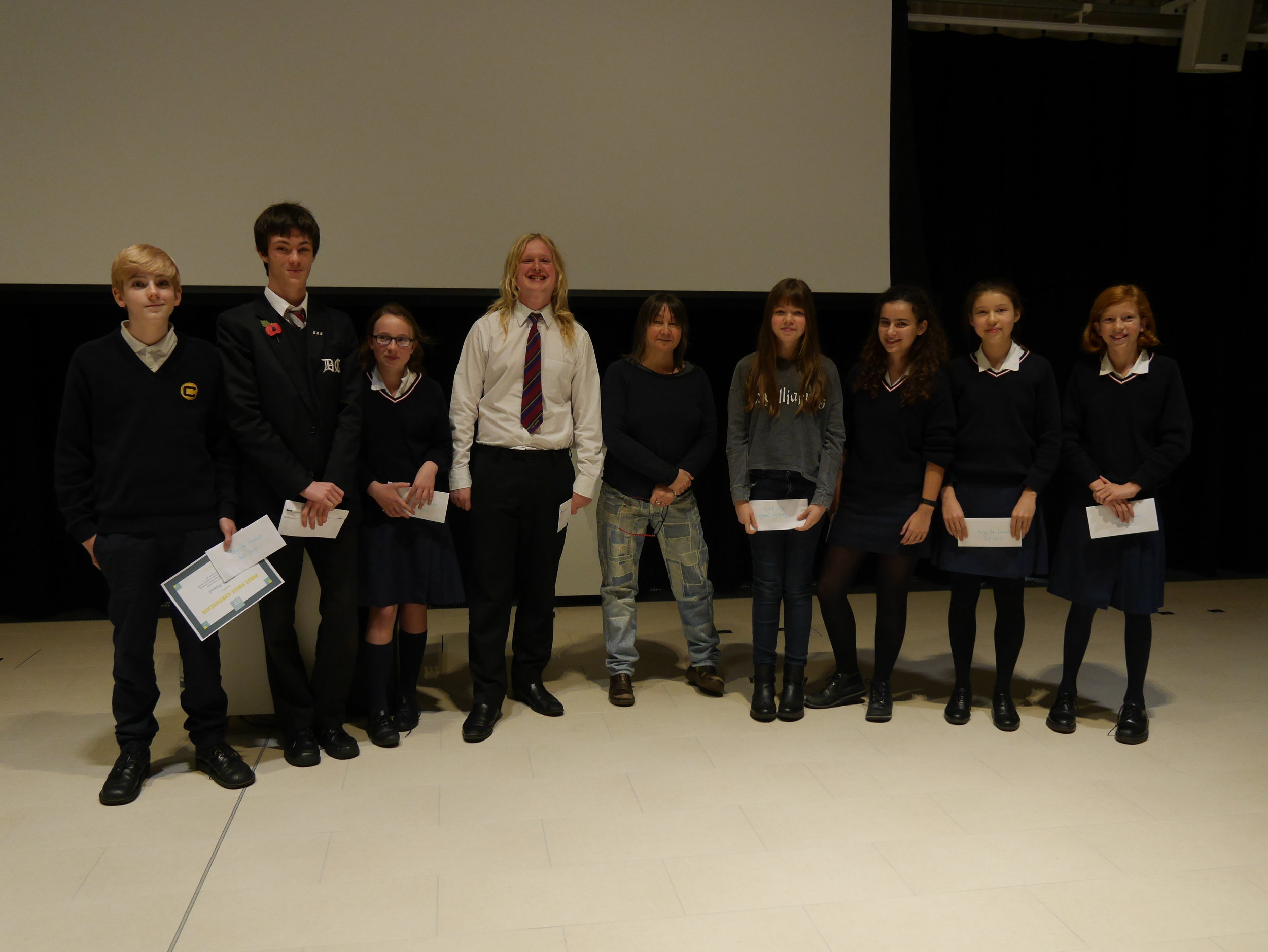 Short story competition winners w Ali Smith.JPG