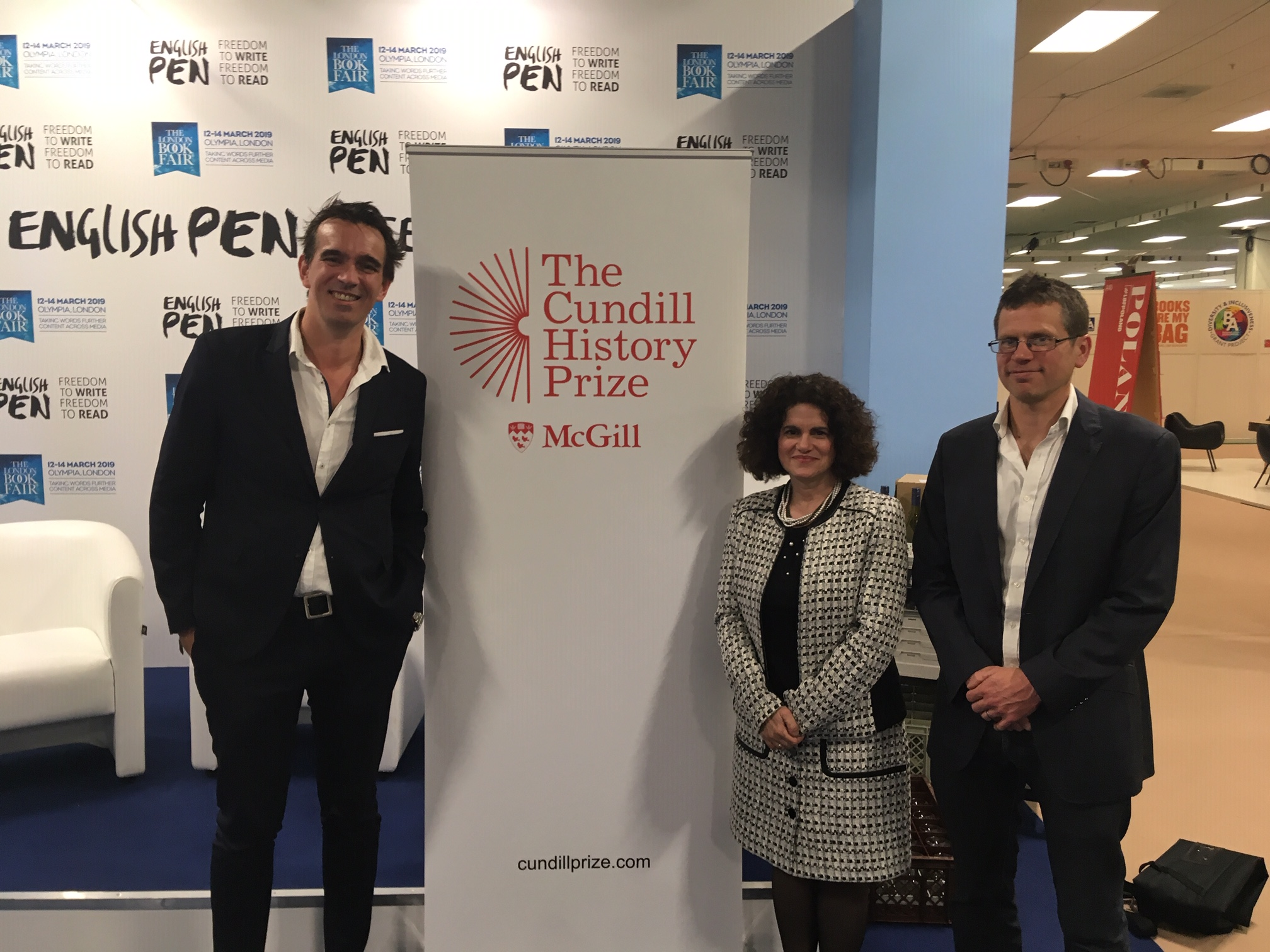 2018 Juror Peter Frankopan; Antonia Maioni, Dean of Arts at McGill University; BBC History Magazine's Dave Musgrove at The London Book Fair, where the 2019 jury was announced