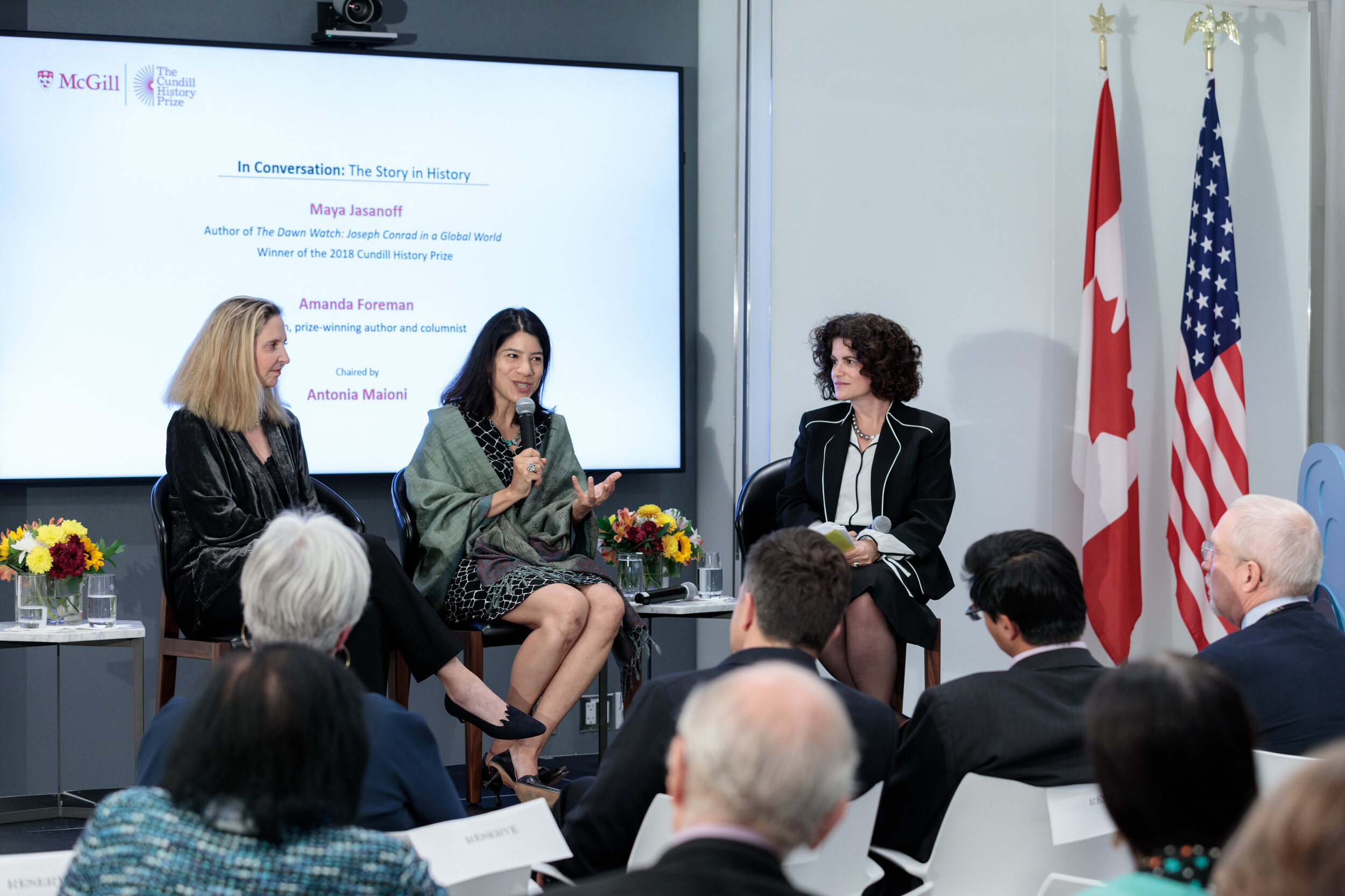 Maya Jasanoff and Amanda Foreman in conversation at the Cundill History Prize shortlist announcement in New York on Thursday.