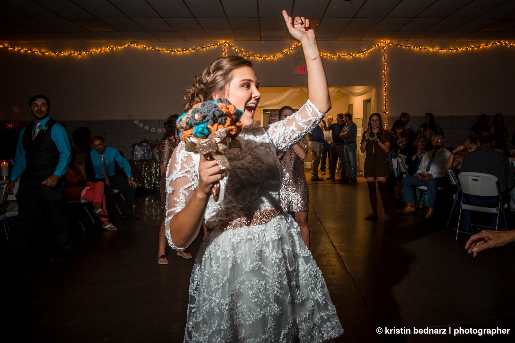 All the normal activity at a wedding reception ensued. And then, afterwards, the bride changed into shorts and a tshirt and danced her little BOOTY off!  Not even lying!!!  So much dancing and fun ensued that everyone was winded, out of breath and LOVIN' every second of it!!!