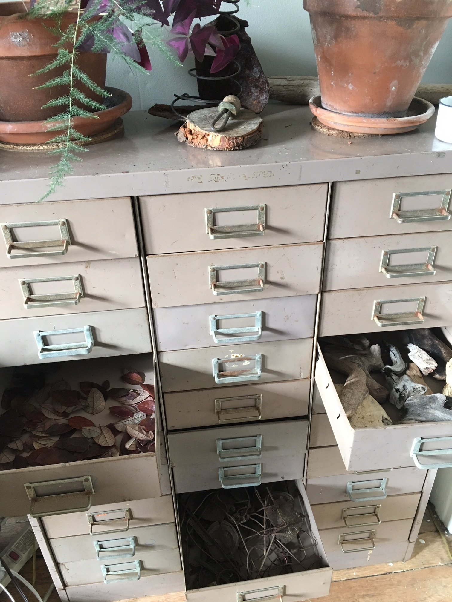 30 drawers now do what piles of bowls and bins and boxes did, and much more tidily!