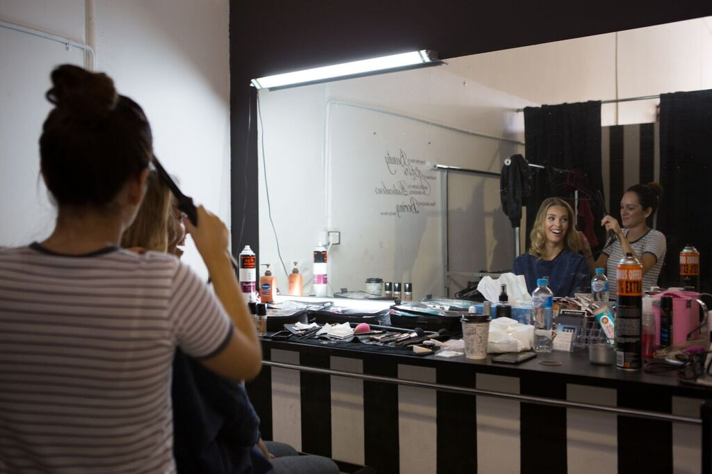 Model Getting Hair And Make Up Done