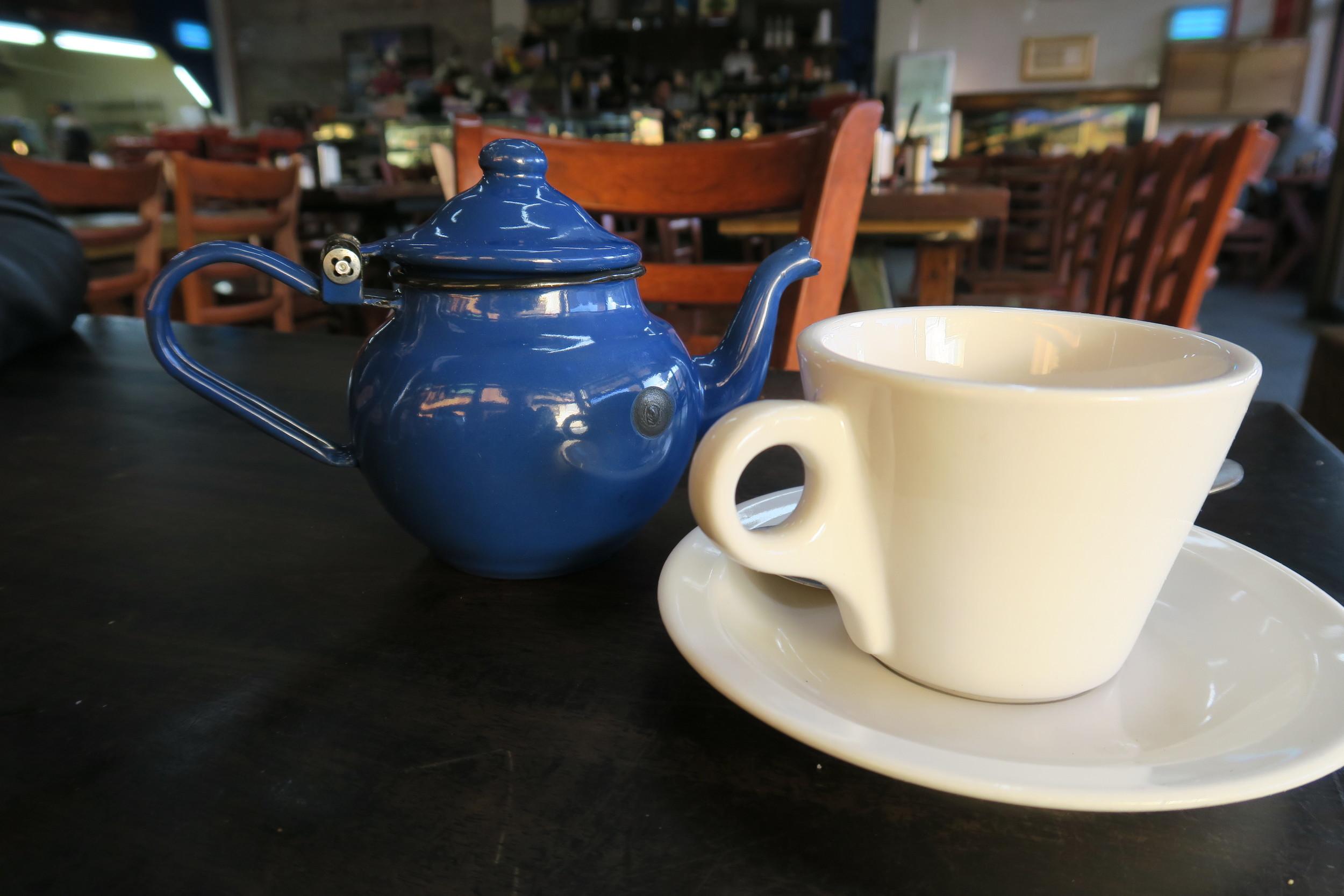 blue teapot and teacup
