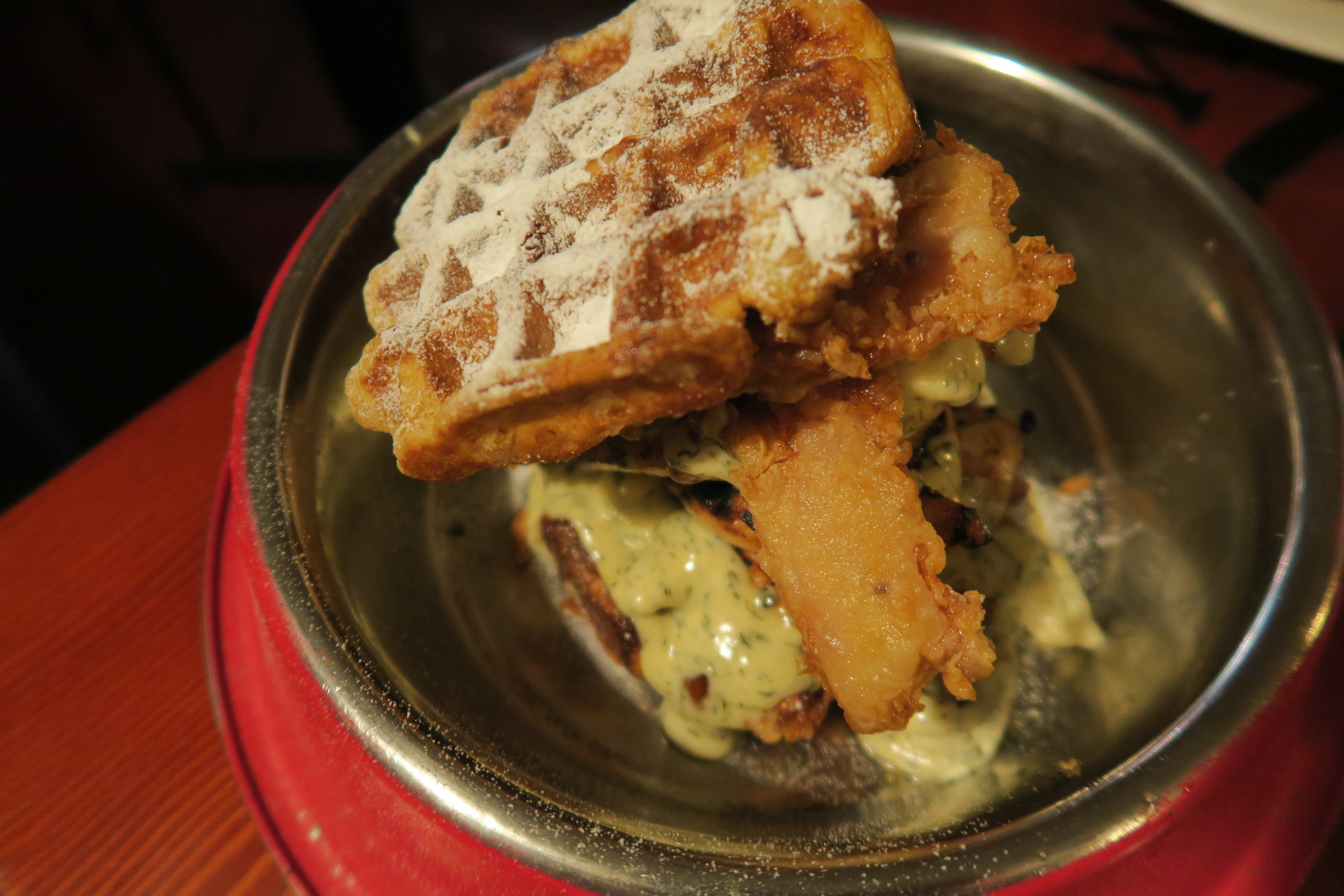 waffle burger with chicken and battered bacon at the winston hobart.JPG