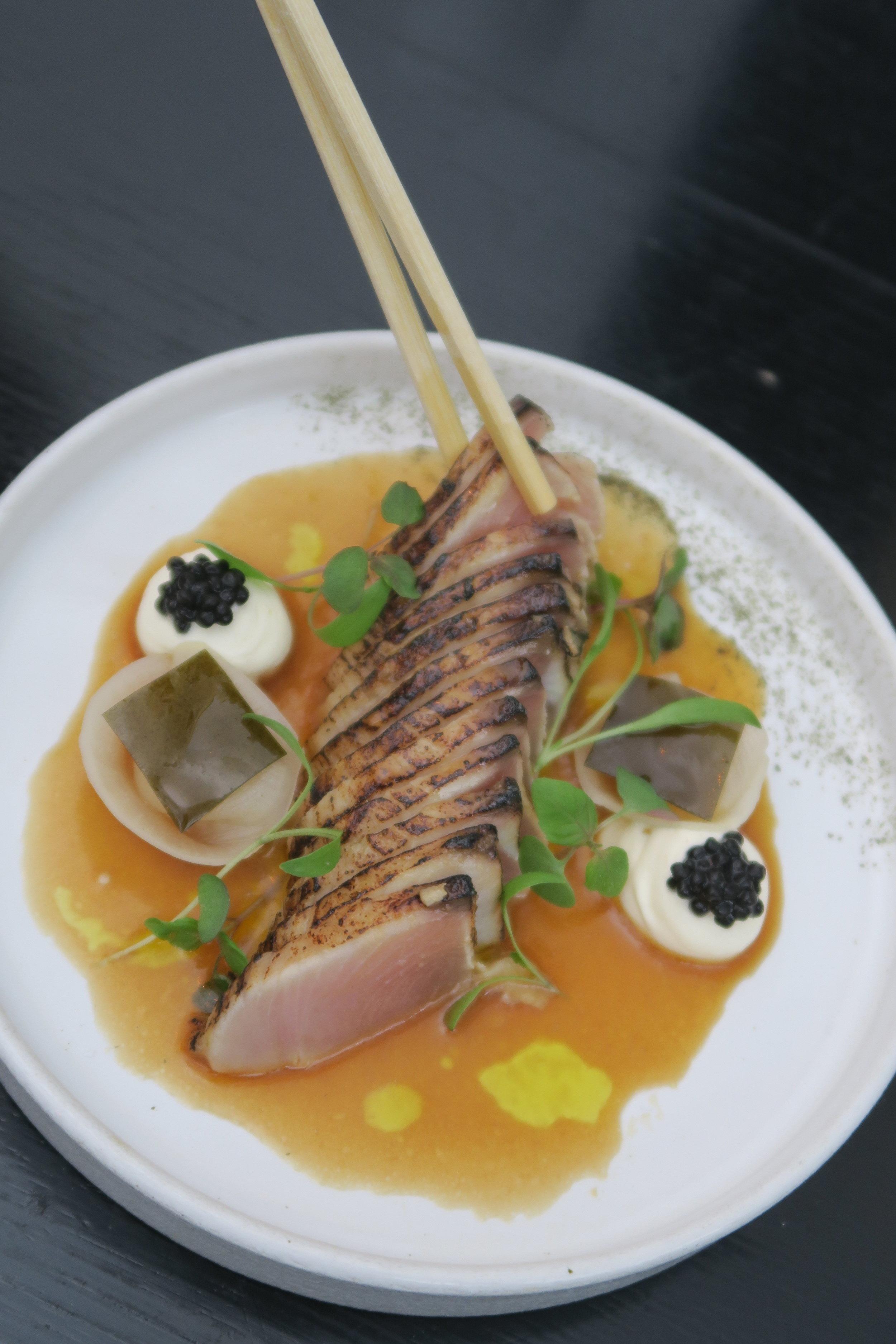 BONITO PASTRAMI yuzu-soy & brown butter dressing, kombu, yuzu cream, avruga.JPG