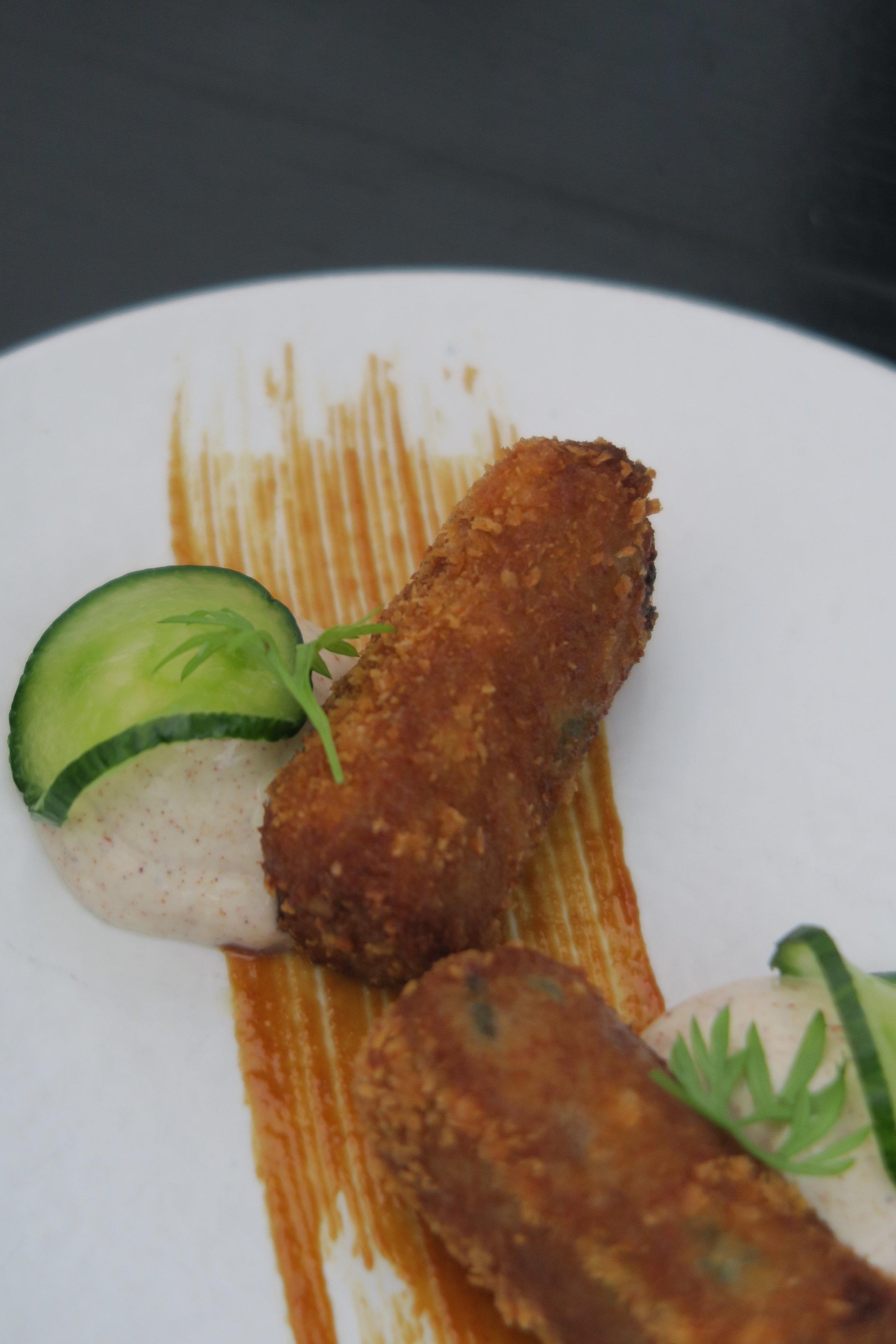 CROQUETAS `BEIJING DUCK´ hoisin marinated duck, almonds, honey, cinnamon cream.JPG