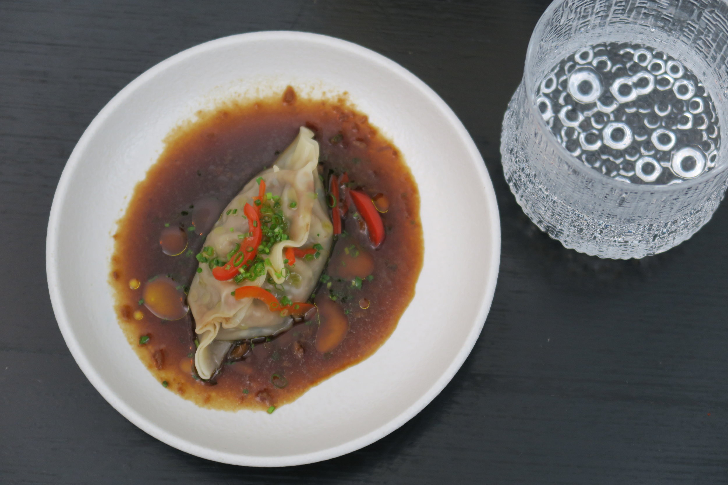 OXTAIL DUMPLING braised beef & oxtail, black vinegar dressing, sesame, pickled chilli .JPG