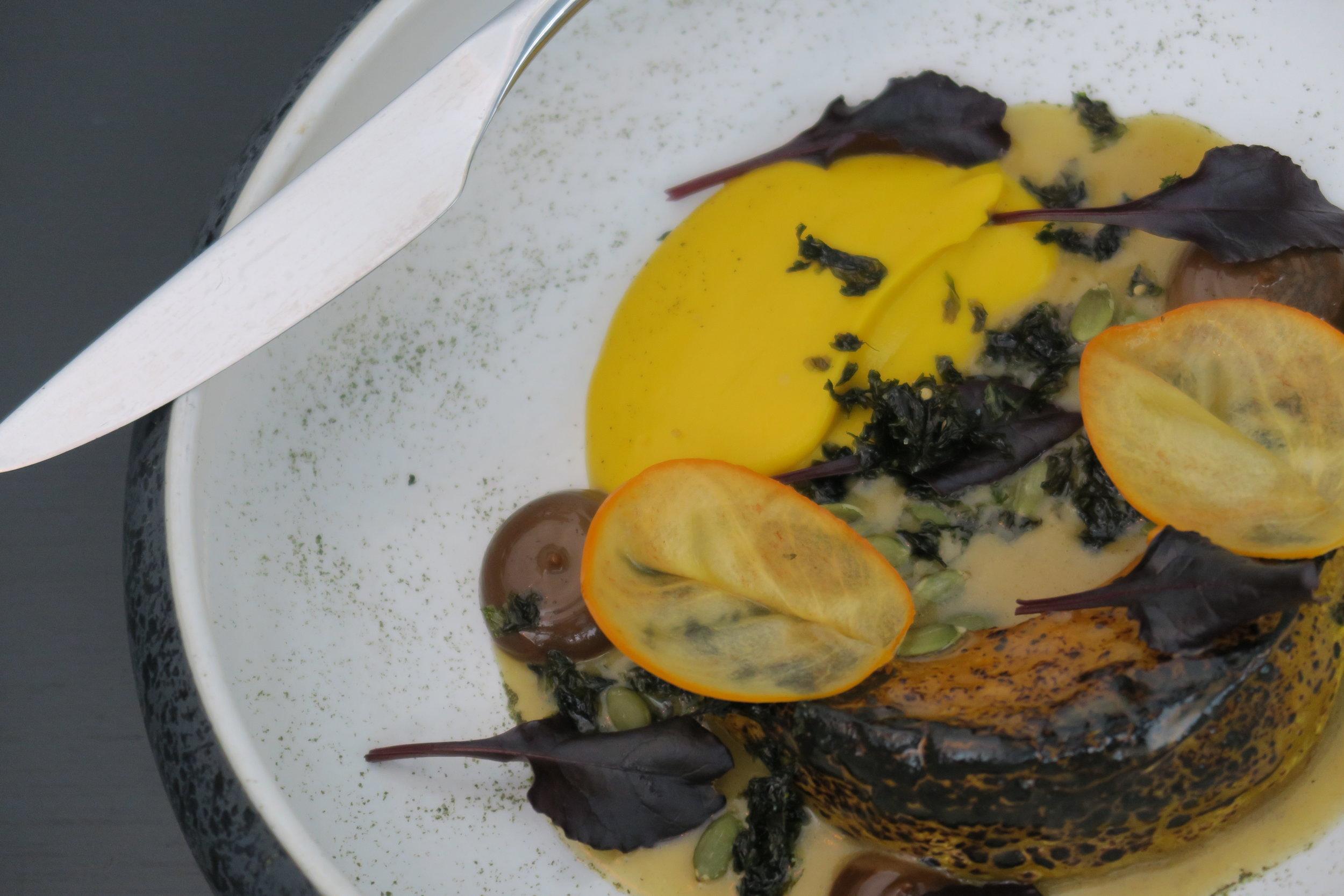 ROASTED PUMPKIN kombu butter dashi, persimmon, black garlic, pumpkin puree.JPG
