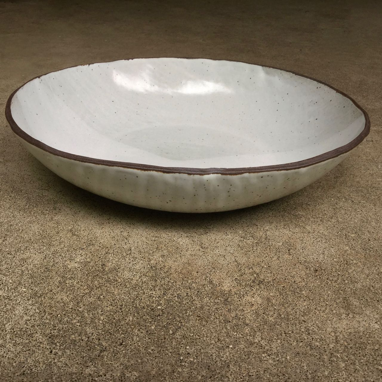 1048 Glossy white large crater bowl side 2.jpg