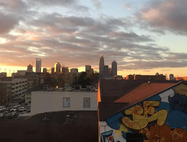 New office view! 🌆  #charlotte #charlotteskyline #skyline #cityscape #sunset