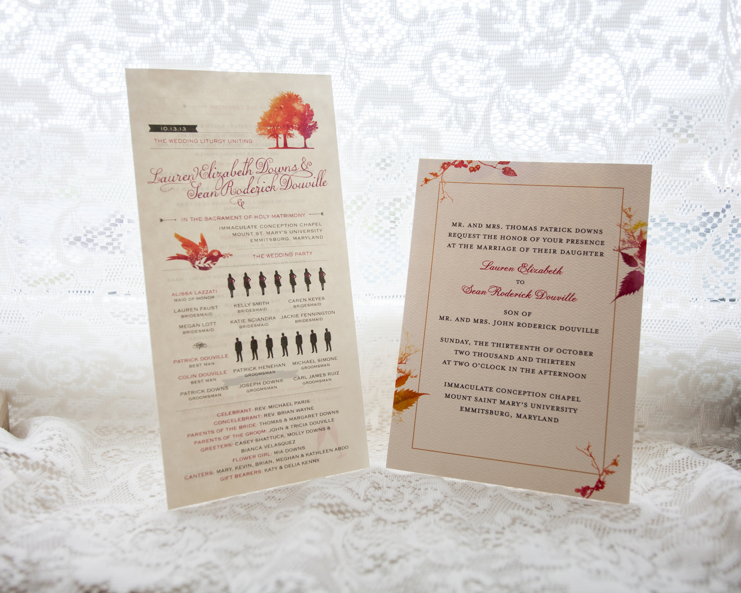 wedding invitation program fall wedding orange maryland pennsylvania.jpg
