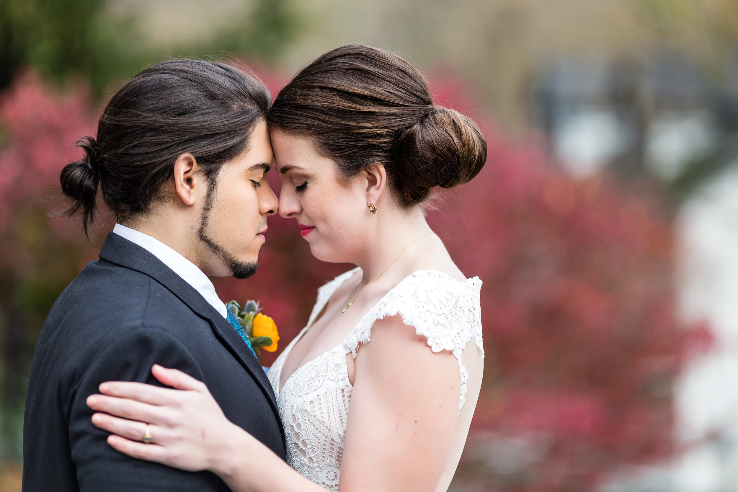 Bride and groom colorful brunch wedding yellow boutonniere Ashley Gerrity Photography