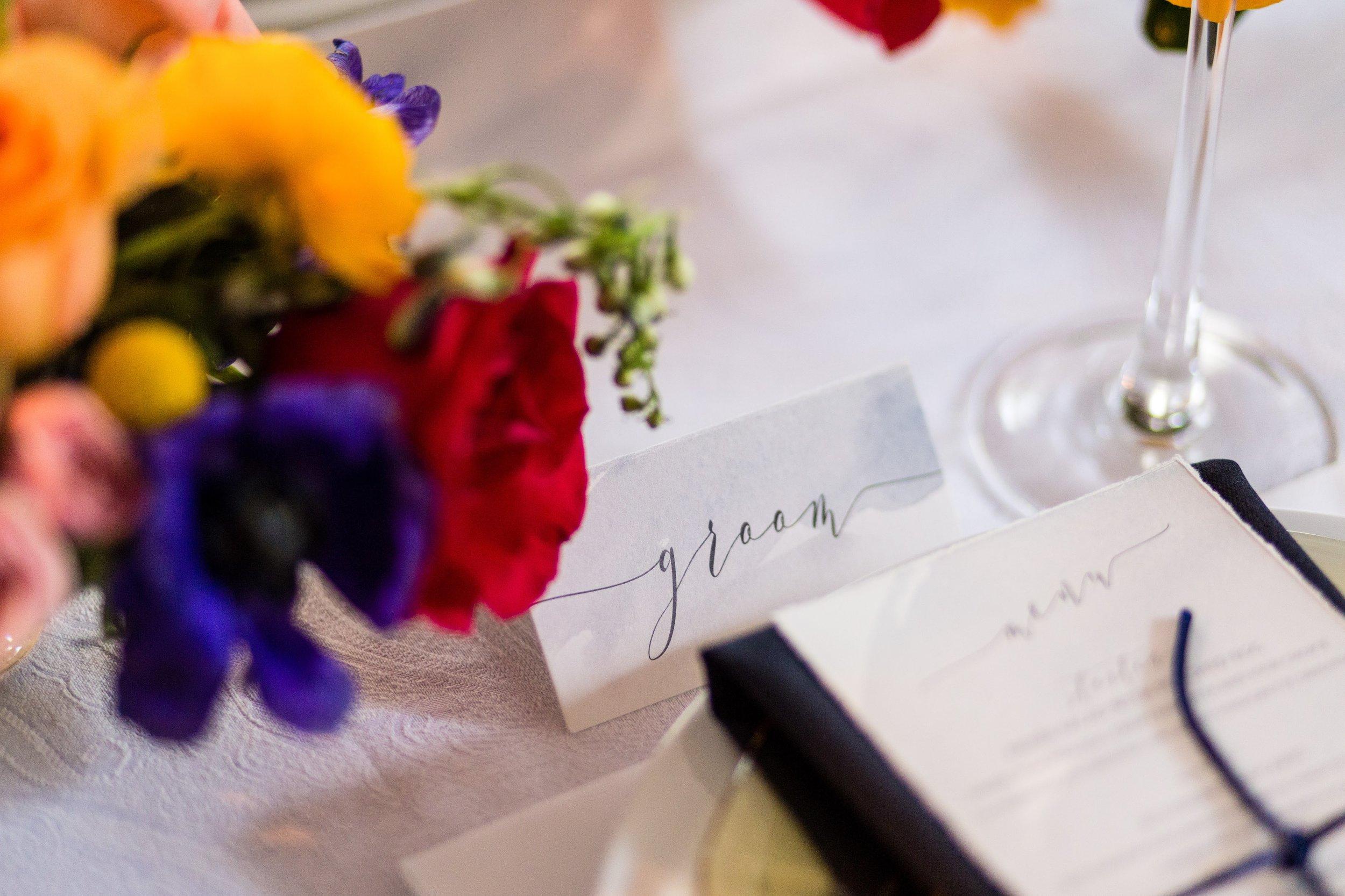 Custom watercolor design wedding place card April Lynn Designs Ashley Gerrity Photography