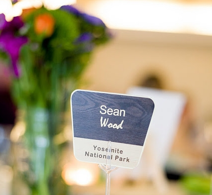 Wedding place card national park sign stand Mariah Gentry Photography