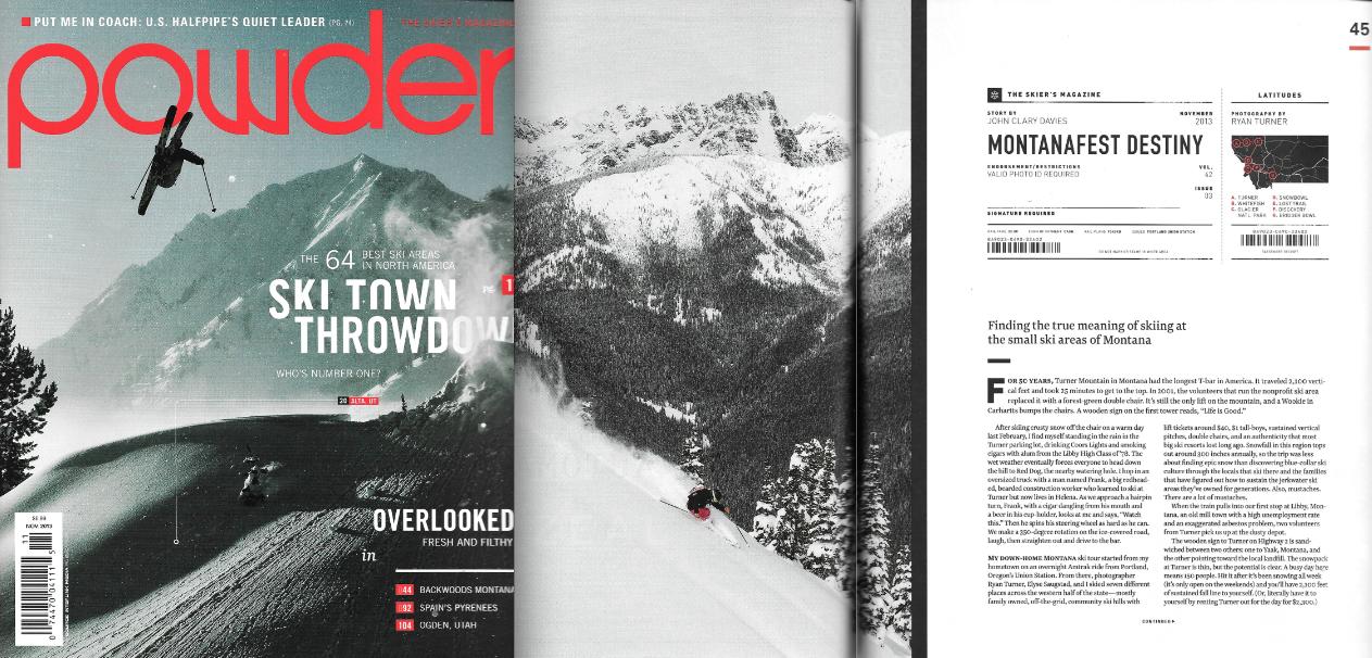 Powder Magazine Issue Nov 2013 - Montana Story featuring Elyse Saugstad