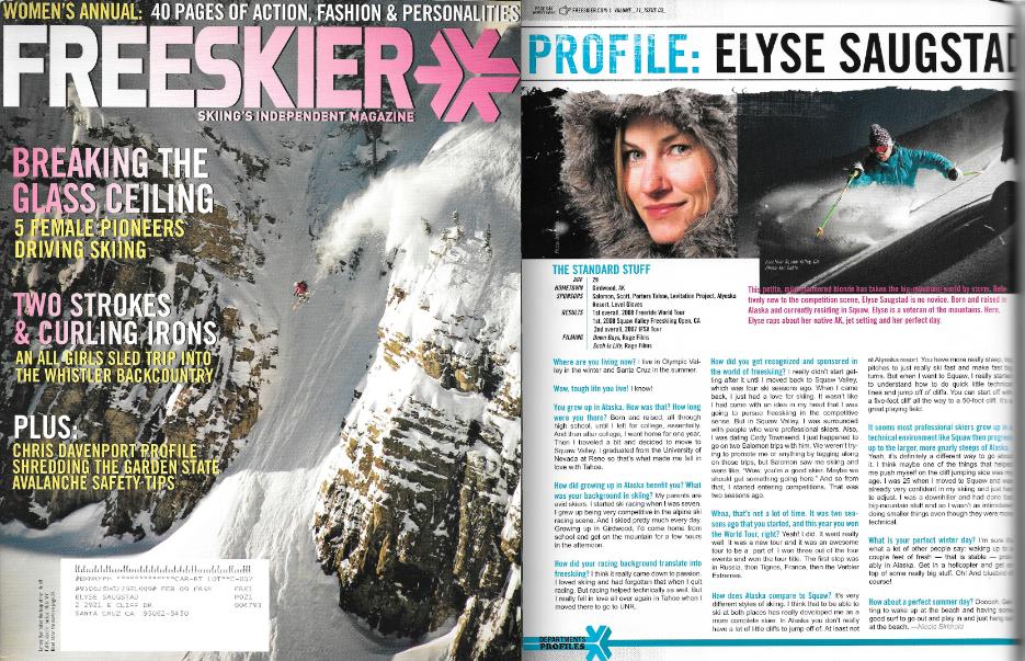 Freeskier Magazine Issue Feb 2009 - Profile by Nicole Birkhold
