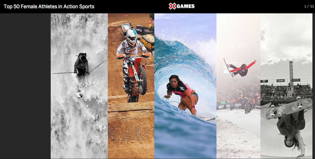 """Elyse was recognized as oneofESPN's """"TOP 50 WOMEN IN ACTION SPORTS"""" March 2014"""