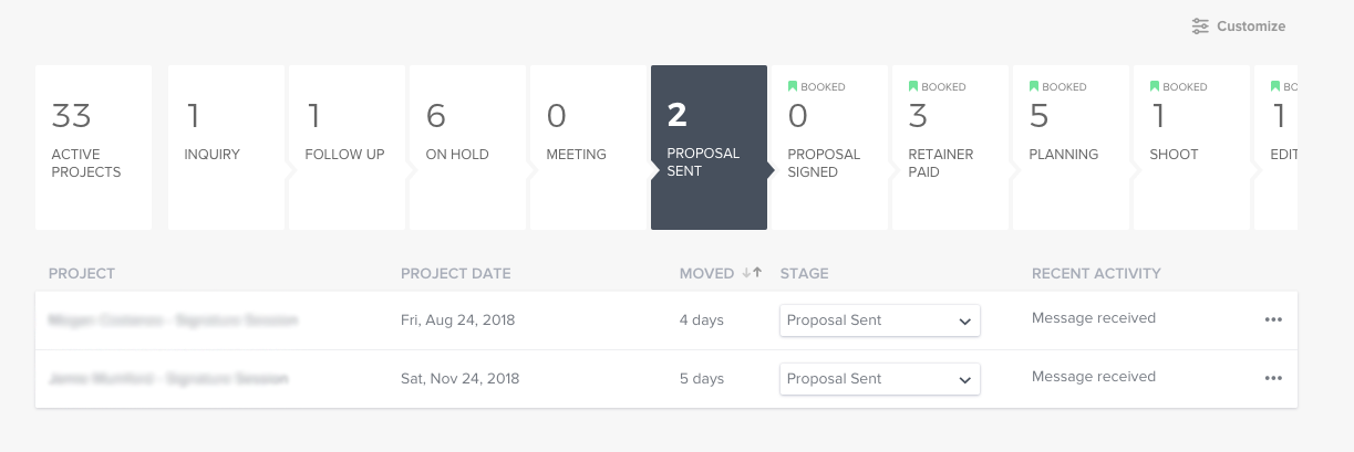 Honeybook lets you create a custom client pipeline, so you know at-a-glance where all your projects are at.