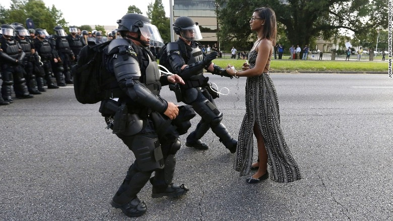 Protester Leshia Evans in Baton Rouge in July 2016 (photo by Jonathan Bachman)