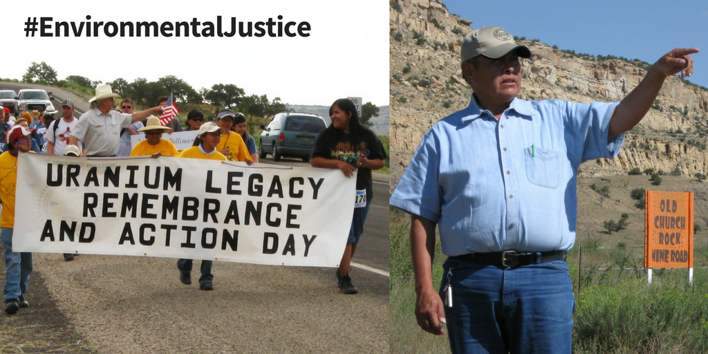 Navajo community members (left) and Larry King (right) stand up to the uranium mining industry