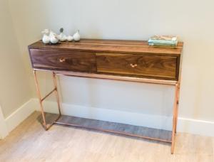 Auction Item: Walnut & Oak Table With Copper Legs by Ryan Nier