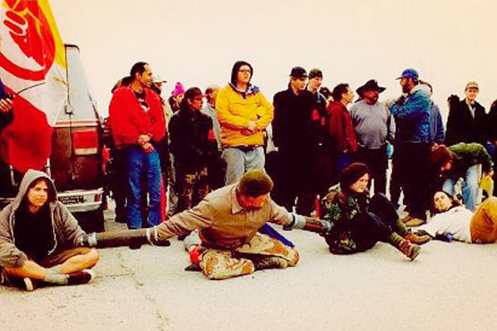 Protestors refuse to be evicted from the 1998 Ward Valley occupation.