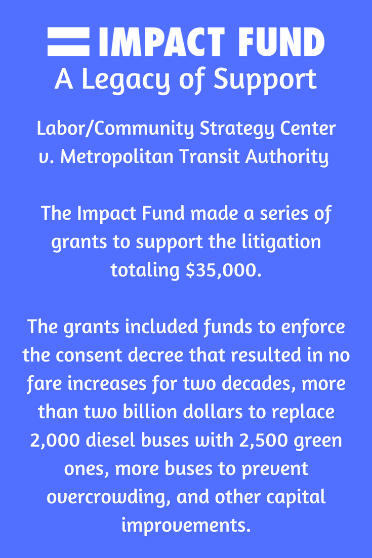 Impact Fund - A Legacy Of Support  Labor/Community Strategy Center  v.Metropolitan Transit Authority   The Impact Fund made a series of grants to support the litigation totaling $35,000.  The grants included funds to enforce the consent decree that resulted in no fare increases for two decades,more than two billion dollars to replace 2,000 diesel buses with 2,500 green ones,more buses to prevent overcrowding,and other capital improvements.