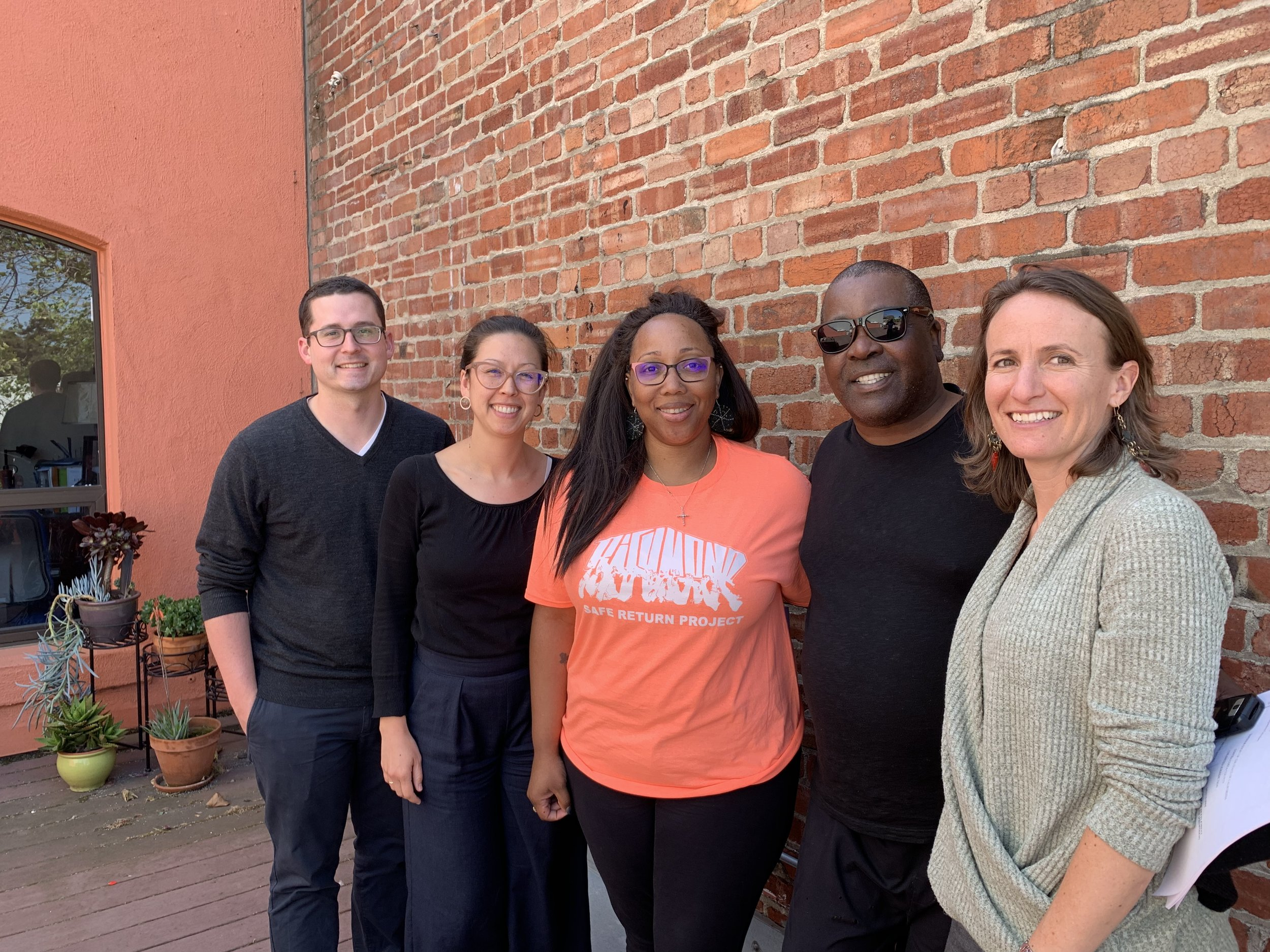 (L to R): Daniel Nesbit, Impact Fund, Law Fellow; Lindsay Nako, Impact Fund, Director of Litigation & Training; Tamisha Walker, Plaintiff Safe Return Project, Executive Director; Plaintiff Walter Killian; Rebekah Evenson, Bay Area Legal Aid, Director of Litigation & Advocacy