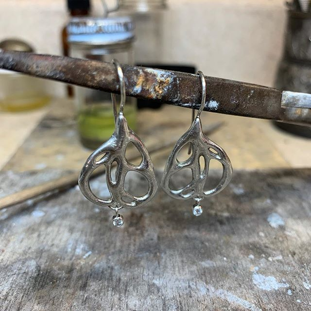 #Sterling and #diamond #earrings with a fairy wing vibe #onthebench today #laurakieferdesigns #madeindenver